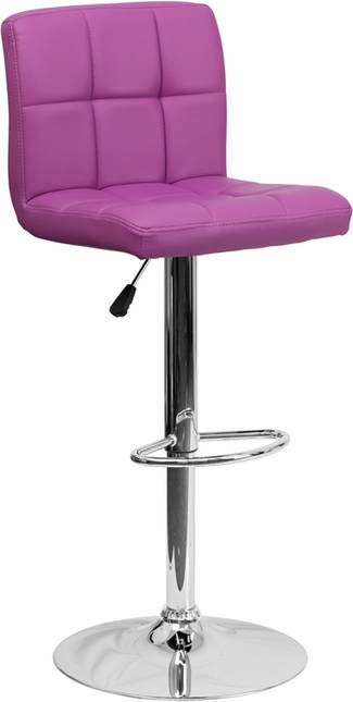 Contemporary Purple Quilted Vinyl Adjustable Height Barstool With Chrome Base