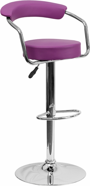 Contemporary Purple Vinyl Adjustable Height Barstool With Arms And Chrome Base