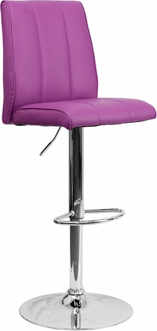 Contemporary Purple Vinyl Adjustable Height Barstool With Chrome Base