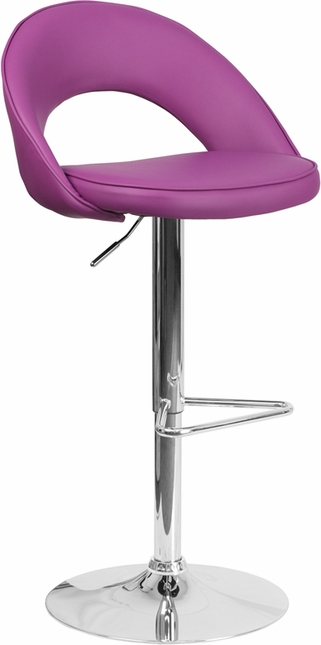 Contemporary Purple Vinyl Rounded Back Adjustable Height Barstool W/ Chrome Base