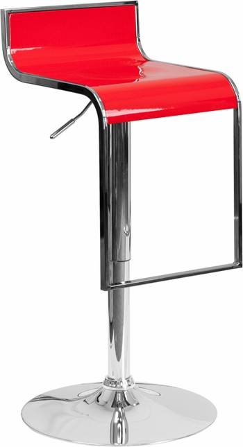 Contemporary Red Plastic Adjustable Height Barstool With Chrome Drop Frame