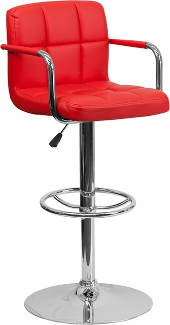 Contemporary Red Quilted Vinyl Adjustable Height Barstool W/ Arms & Chrome Base