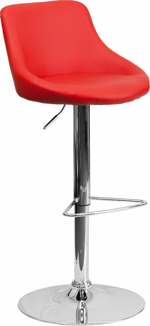 Contemporary Red Vinyl Bucket Seat Adjustable Height Barstool With Chrome Base