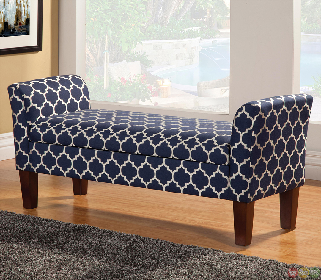 Contemporary Navy Blue Amp White Patterned Fabric