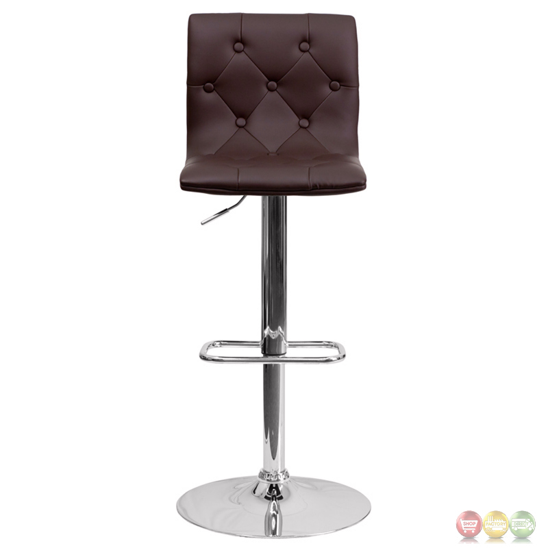 Contemporary Tufted Brown Vinyl Adjustable Height Barstool