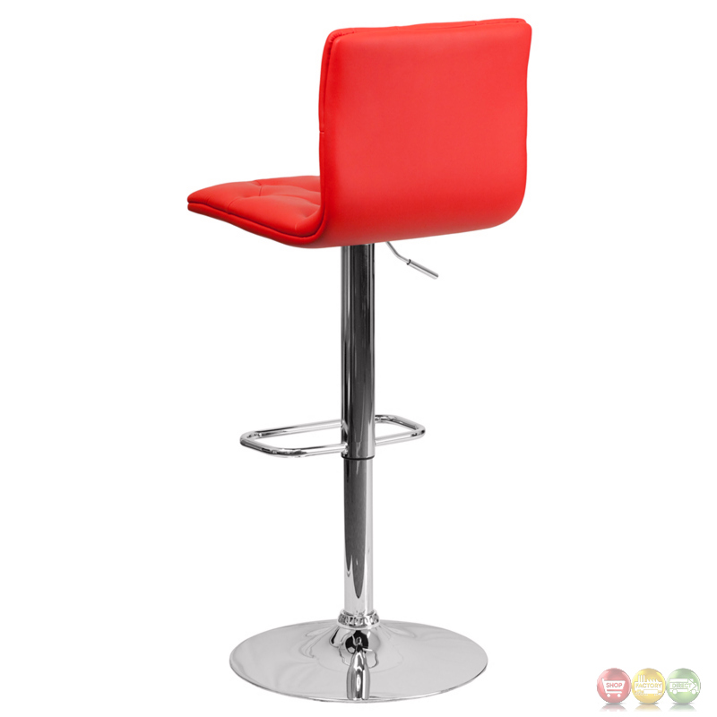 Contemporary Tufted Red Vinyl Adjustable Height Barstool
