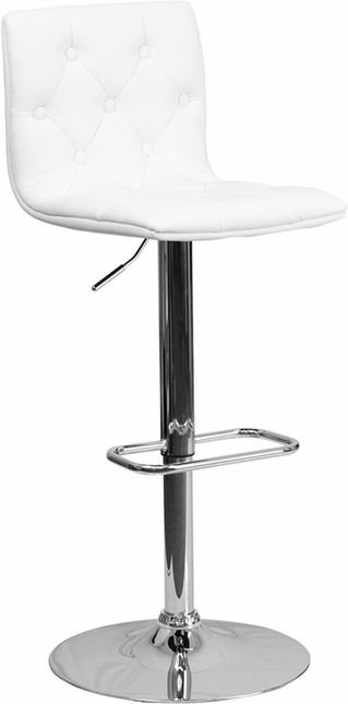 Contemporary Tufted White Vinyl Adjustable Height Barstool With Chrome Base