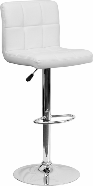 Contemporary White Quilted Vinyl Adjustable Height Barstool With Chrome Base