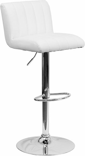 Contemporary White Vinyl Adjustable Height Barstool With Chrome Base