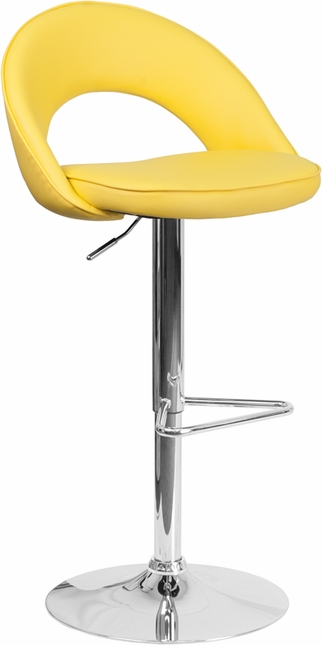 Contemporary Yellow Vinyl Rounded Back Adjustable Height Barstool W/ Chrome Base