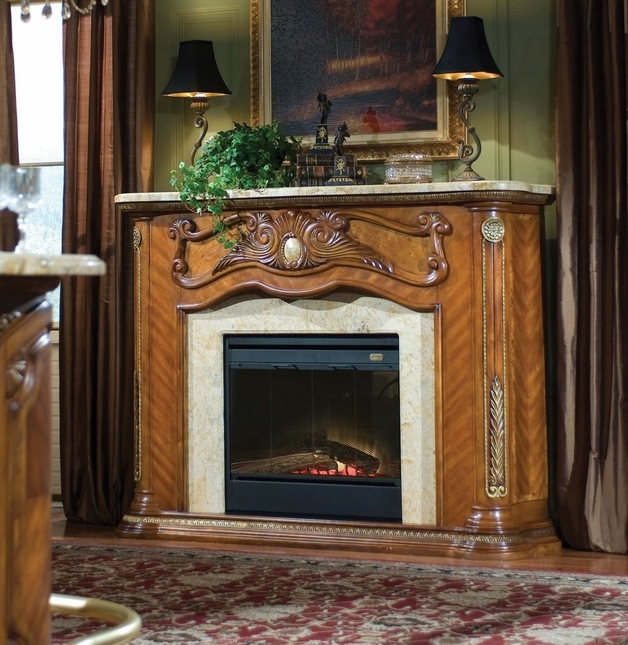 Michael Amini Cortina Fireplace w/Marble Top & Optional Electric Heater Insert AICO