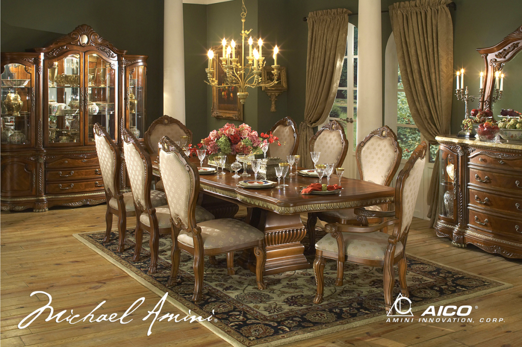 Michael Amini Cortina Honey Walnut Finish Dining Room Set By AICO
