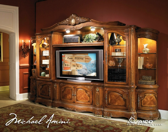 Michael Amini Cortina Traditional Wall Unit Large TV Entertainment Center by AICO