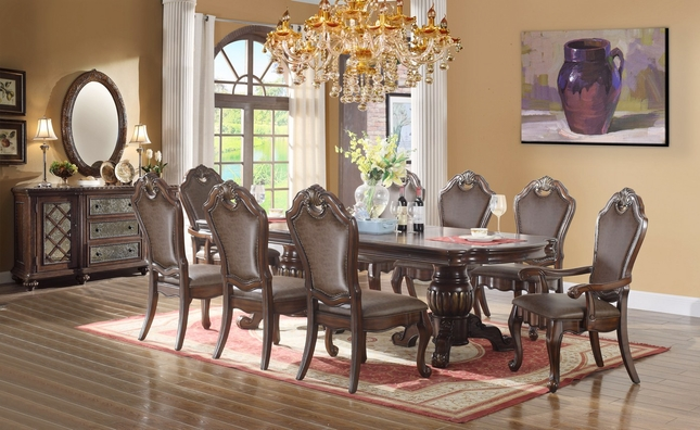 "Carballo 80"" -95"" Double Pedestal 5-pc Dining Set With Faux Leather Chairs"