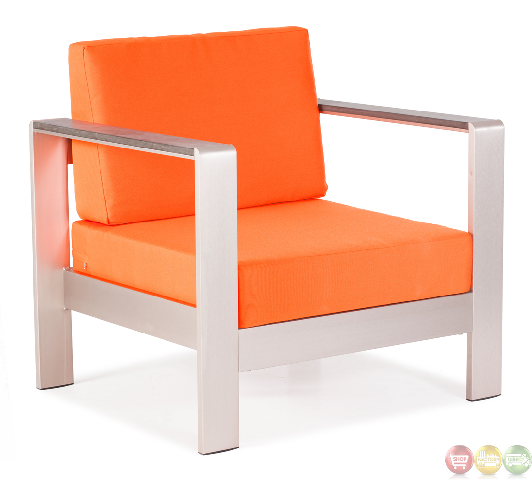 Cosmopolitan Orange Arm Chair Cushions Zuo Modern Modern Outdoor Furni