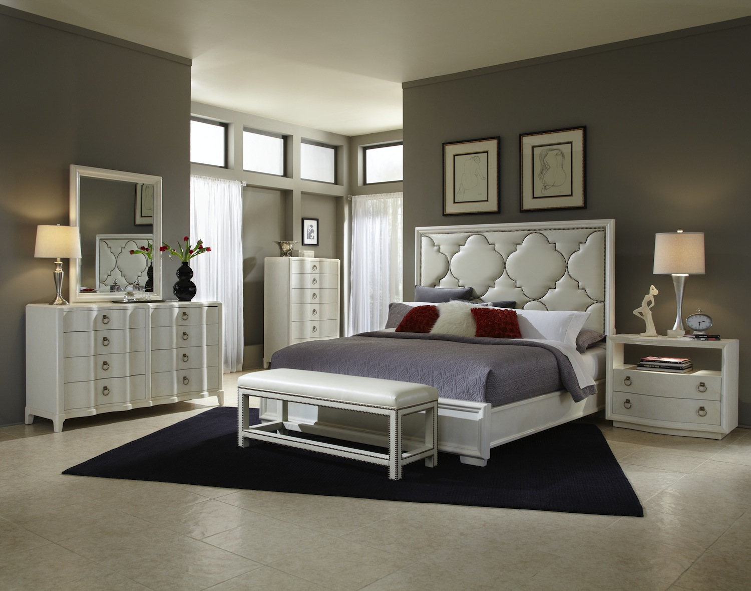 cosmopolitan parchment hollywood glamour bedroom set 208000