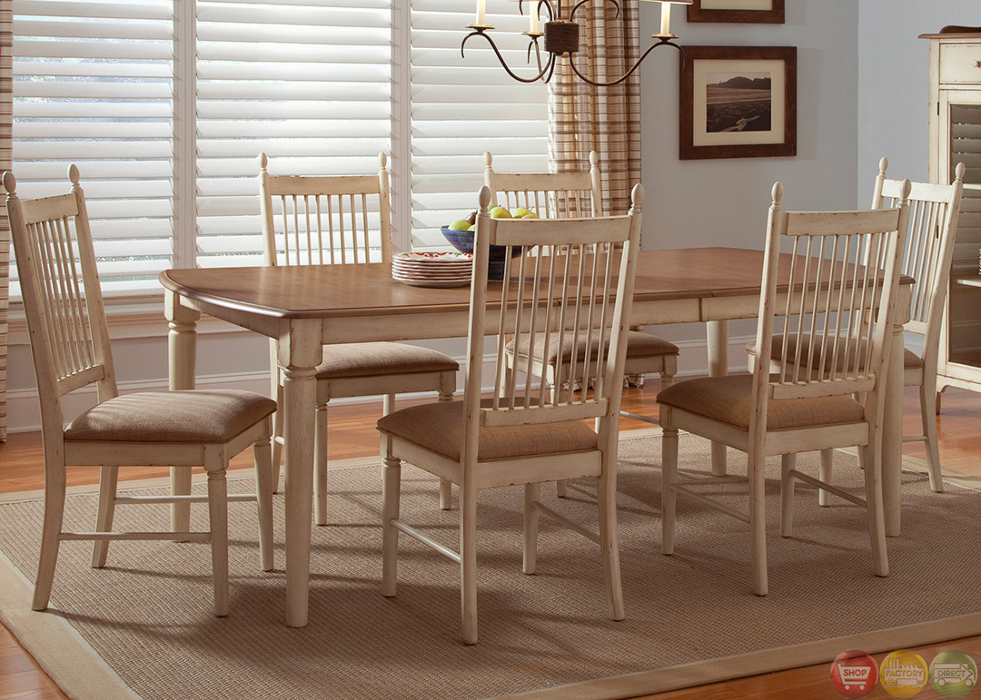 Cottage cove ivory finish casual dining room set for Informal dining room sets