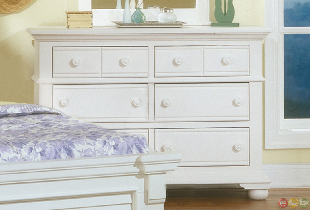 Cottage Traditional White Twin Bedroom Furniture Set