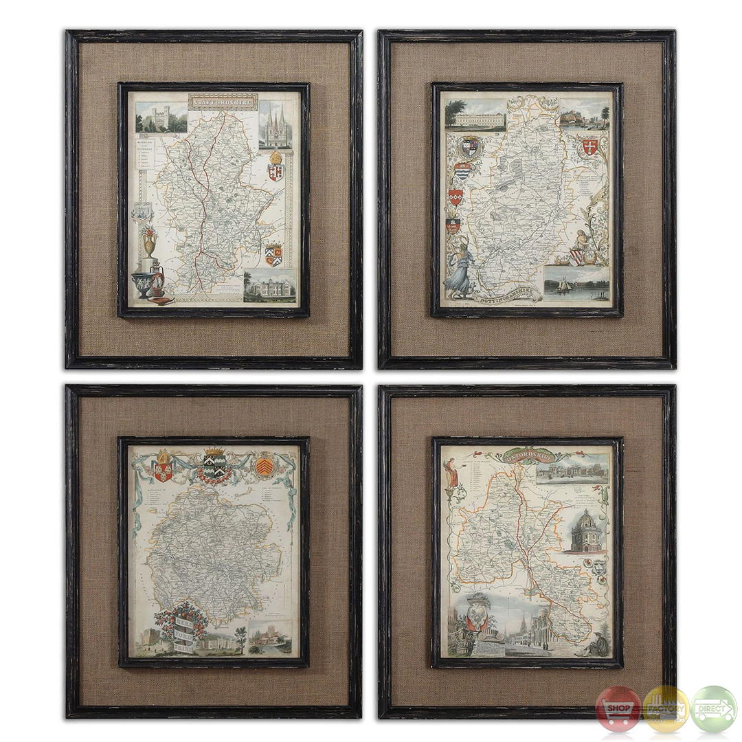 Countryside Maps Set Of 4 Framed Wall Art 55002