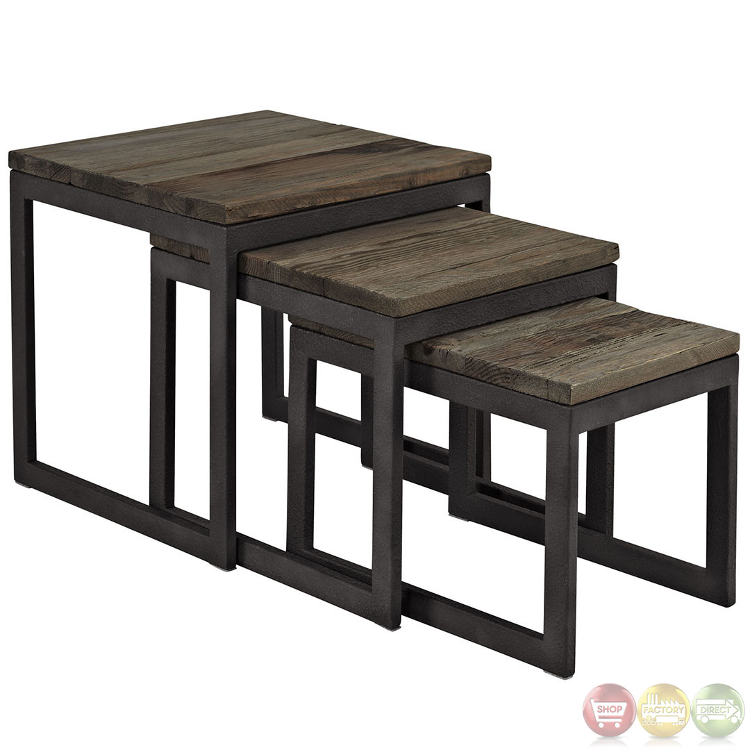 Covert Wood Top Industrial Modern Nesting Table. Full resolution  portraiture, nominally Width 1080 Height 1080 pixels, portraiture with #887343.