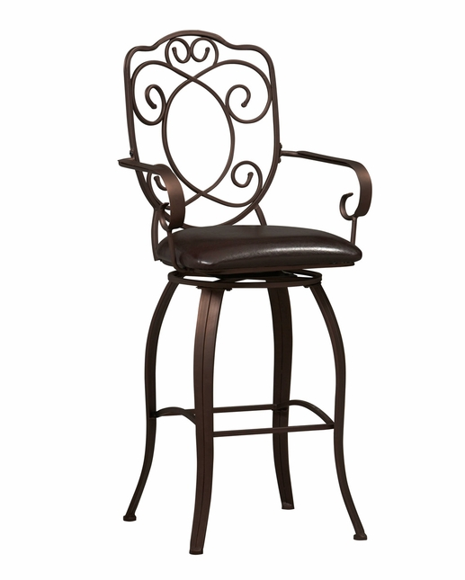 Crested Back Traditional Dark Brown Metal Bar Stool