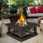 """Crestone Outdoor 34"""" Square Fire Pit In Grey With Brown Tile Top"""