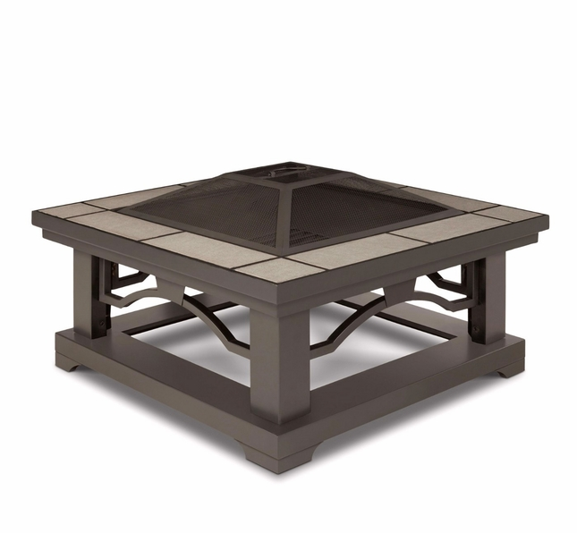 "Crestone Outdoor 34"" Square Fire Pit In Grey With Grey Tile Top"