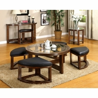 Crystal Cove II Dark Walnut Accent Tables with Ottomans