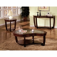 Crystal Falls Contemporary Dark Cherry Accent Tables Set