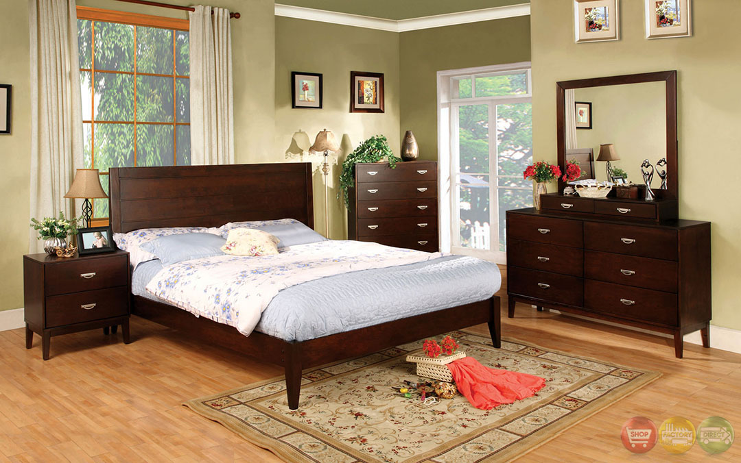 Crystal Lake Contemporary Brown Cherry Bedroom Set With Brushed Nickel