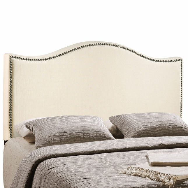Curl Silver Nail Head Ecclestone King Upholstered Headboard, Ivory