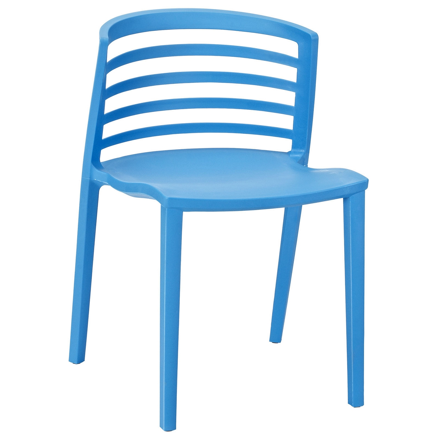 Curvy modern multi purpose molded plastic side chair blue for Blue plastic chair