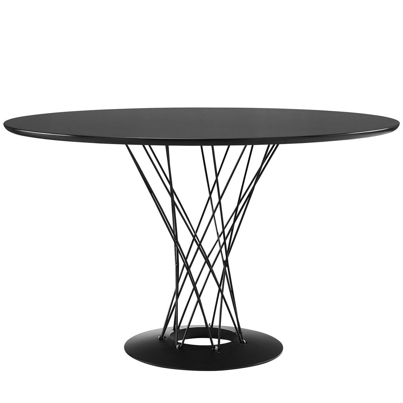 Cyclone Modern 47 Wood Top Dining Table With Steel Wired Pedestal Black