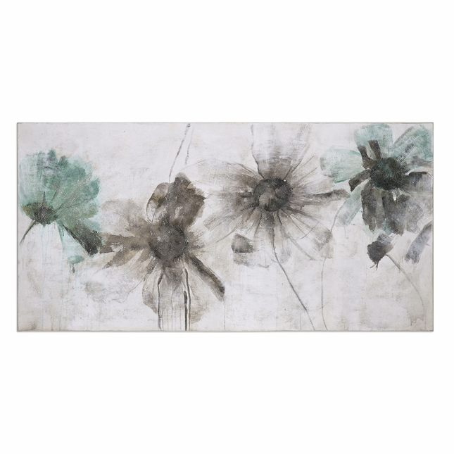 "Daisy Shadows Shabby Chic Floral Art On Rectangular Stretched Canvas, 60""x30"""
