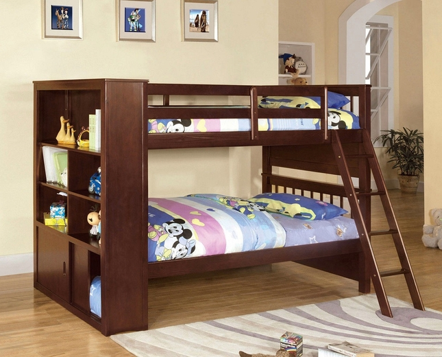 Dakota Ridge Dark Walnut Twin Bookcase Bunk Bed with Built-in Side Bookcase