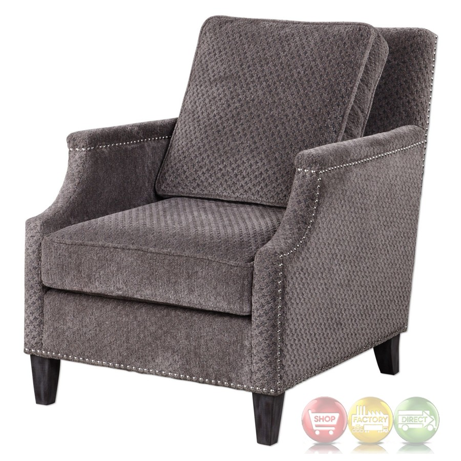 Dallen Curved Accent Armchair With Pewter Gray Chenille