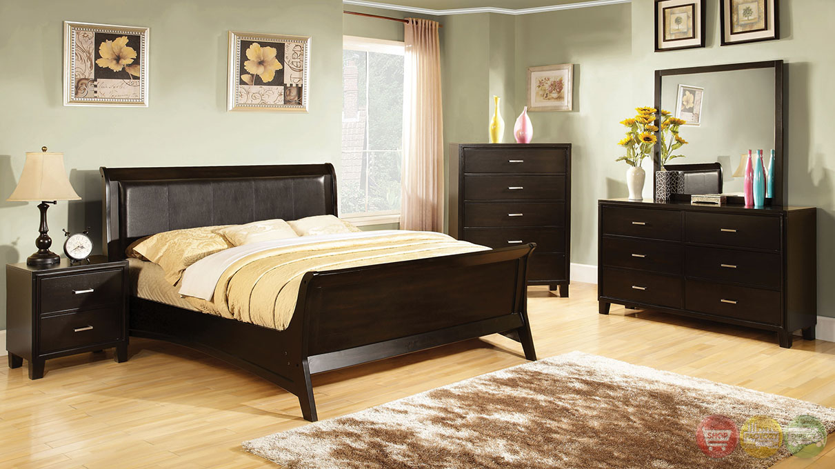 contemporary espresso sleigh bedroom set with leatherette headboard