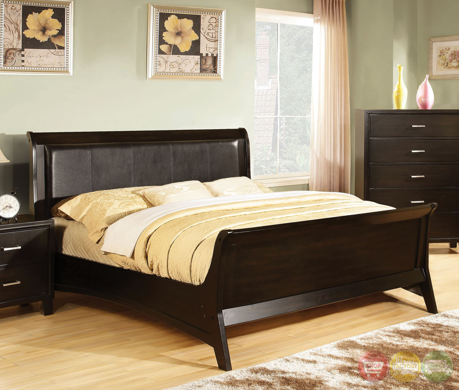 Darien Contemporary Espresso Sleigh Bedroom Set with Leatherette Headboard CM