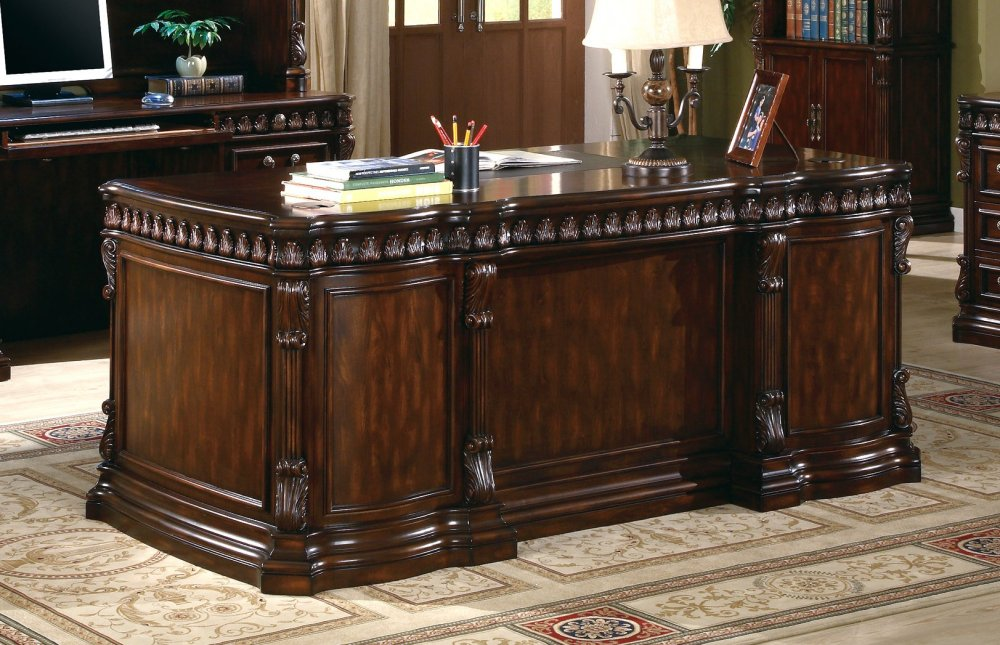 union hill pedestal executive desk with leather