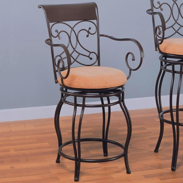 Dark Brown Upholstery Transitional Metal Bar Stool