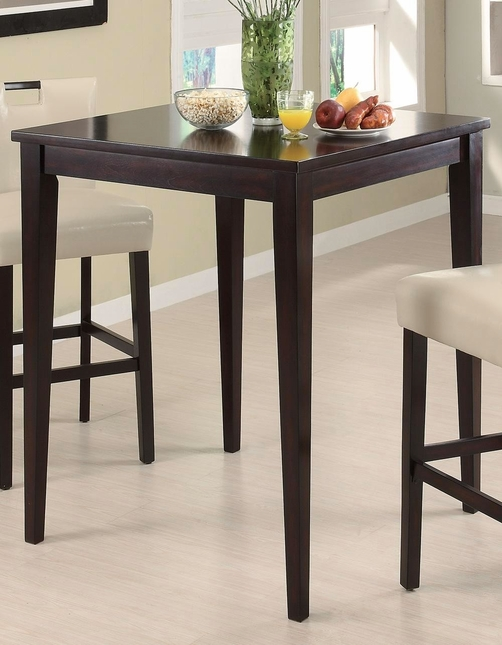 Dark Cappuccino Finish Casual Square Top Bar Table