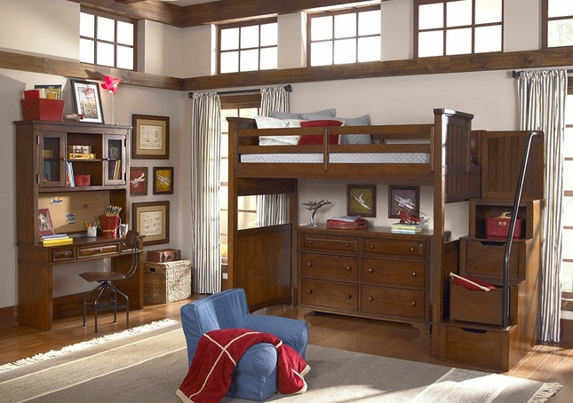 Dawsons Ridge Heirloom Cherry Open Loft Frame Full Size Bed