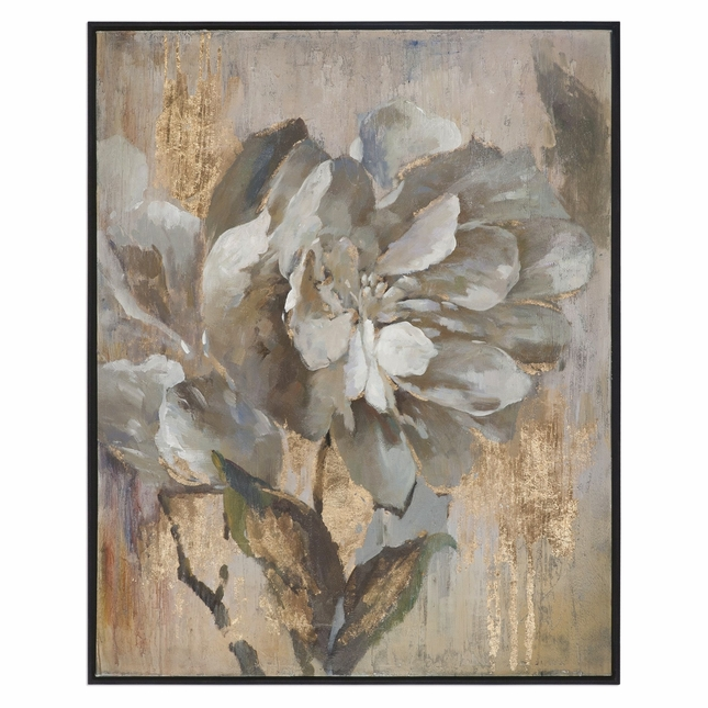 """Dazzling Gray Gold Floral Wall Art On Canvas With Narrow Black Frame, 41""""x51"""""""