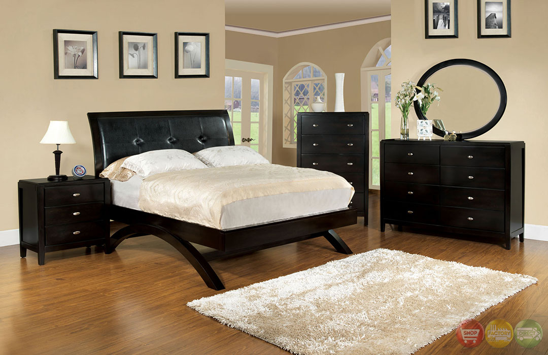 Delano Contemporary Espresso Platform Bedroom Set With Padded Leatherette Hea