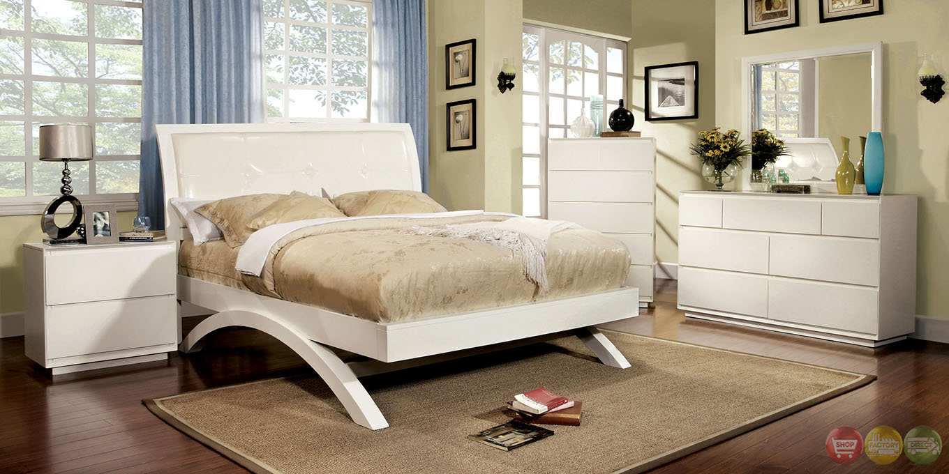 Delano Contemporary White Platform Bedroom Set with Padded Leatherette ...