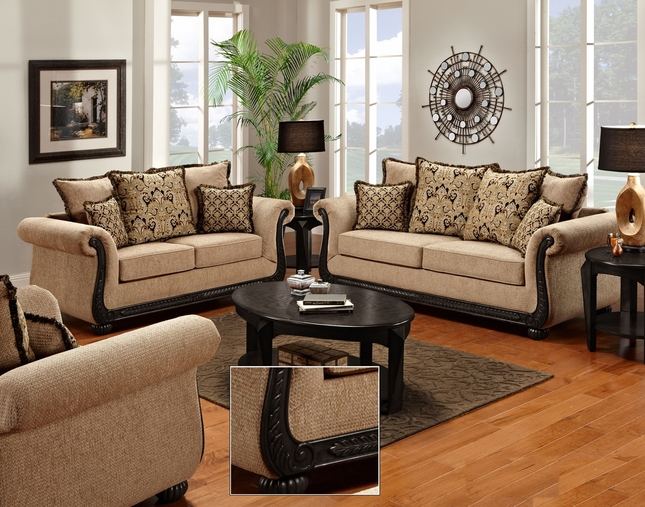 Delray Taupe Chenille Sofa and Loveseat Set with Exposed Wood Trim