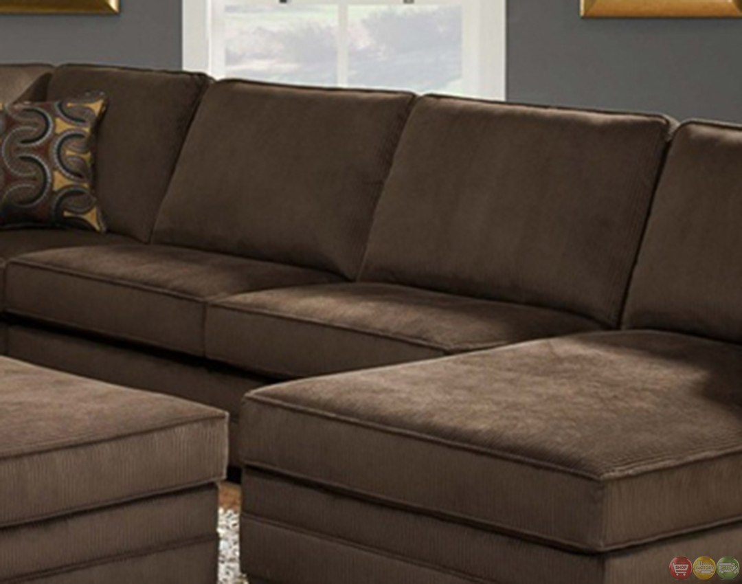 Deluxe Beluga U Shaped Brown Sectional Sofa by Simmons