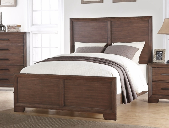 Denali Traditional Luxury King High Back Panel Bed In Dark Wood Finish