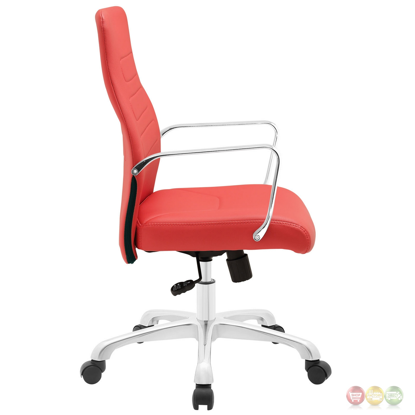 Modern upholstered mid back office chair with aluminum base red