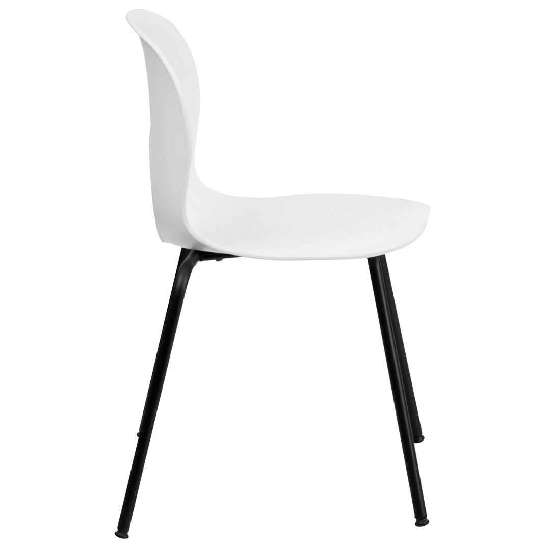 designer white plastic stacking chair with black powder coated frame